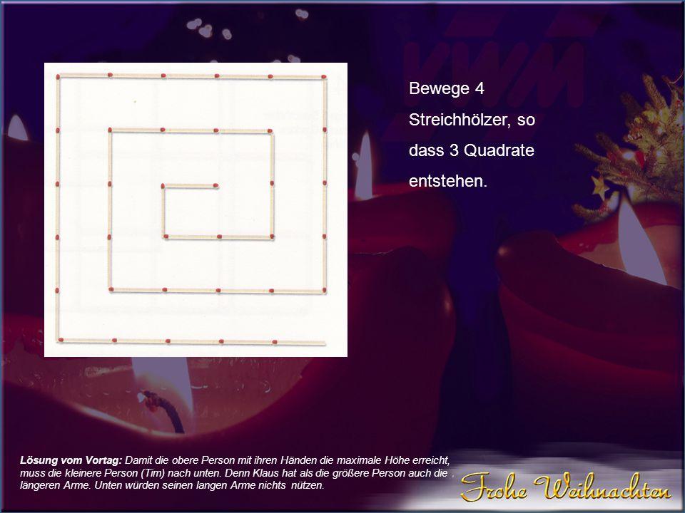 Bewege 4 Streichhölzer, so dass 3 Quadrate entstehen.