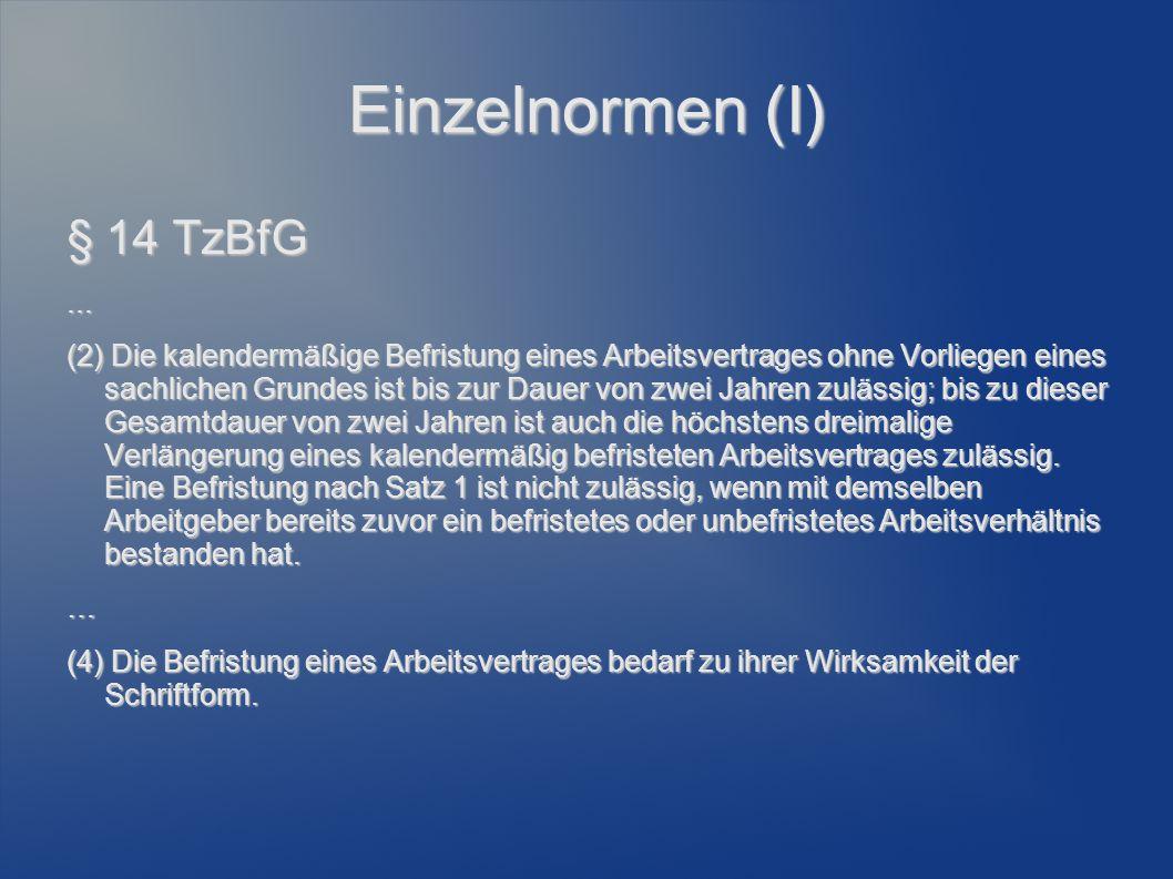 Einzelnormen (I) § 14 TzBfG ...