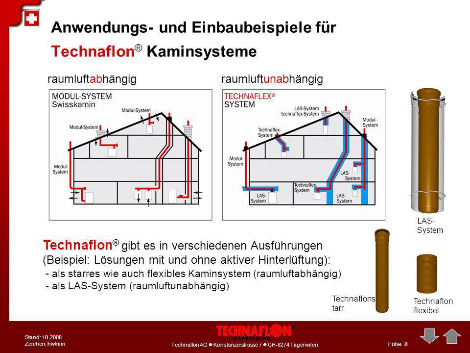 Anwendungs- und Einbaubeispiele für Technaflon® Kaminsysteme