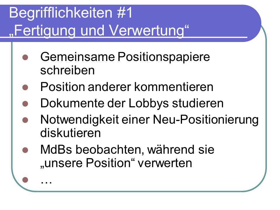 """Begrifflichkeiten #1 """"Fertigung und Verwertung"""
