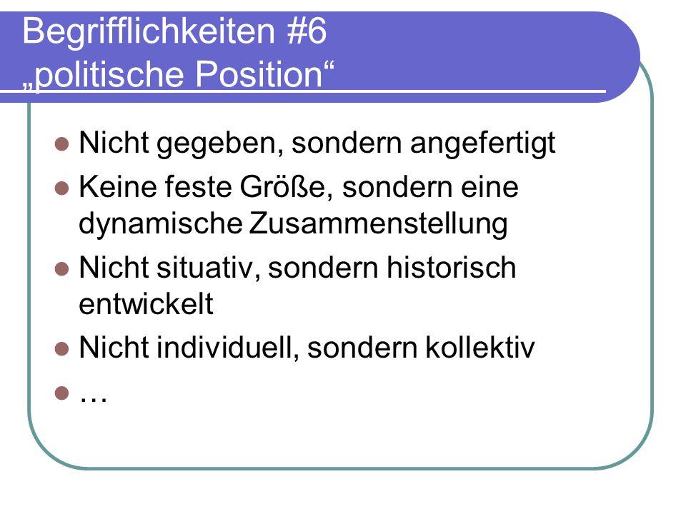 """Begrifflichkeiten #6 """"politische Position"""