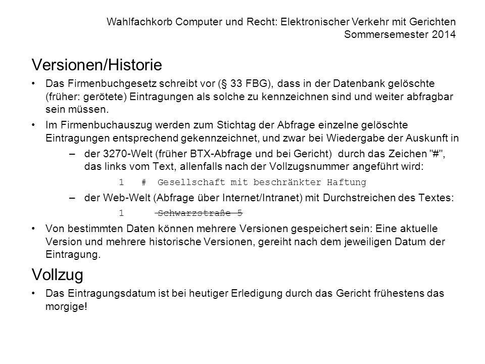 Versionen/Historie Vollzug