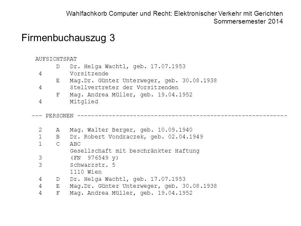Firmenbuchauszug 3 AUFSICHTSRAT D Dr. Helga Wachtl, geb. 17.07.1953