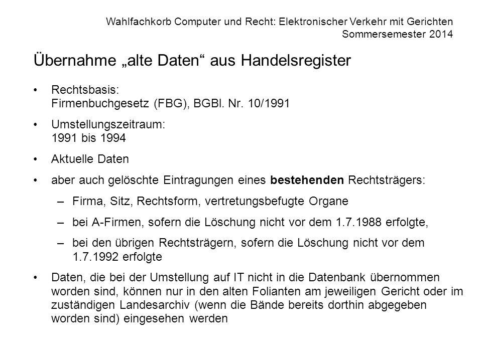 "Übernahme ""alte Daten aus Handelsregister"