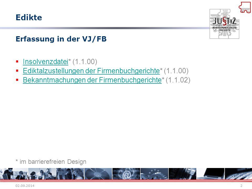 Edikte Erfassung in der VJ/FB Insolvenzdatei* (1.1.00)