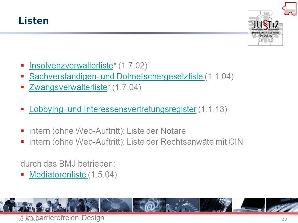 Listen Insolvenzverwalterliste* (1.7.02)