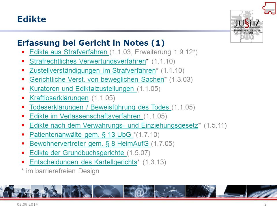 Erfassung bei Gericht in Notes (1)