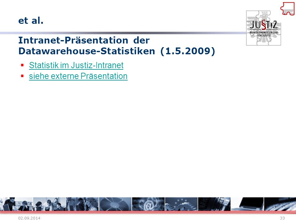 Intranet-Präsentation der Datawarehouse-Statistiken (1.5.2009)