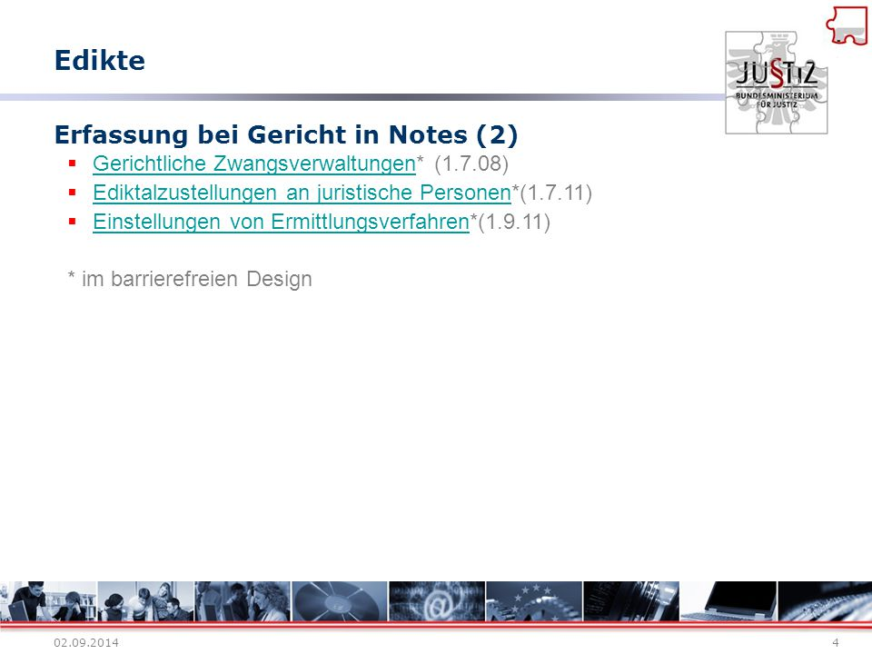 Erfassung bei Gericht in Notes (2)