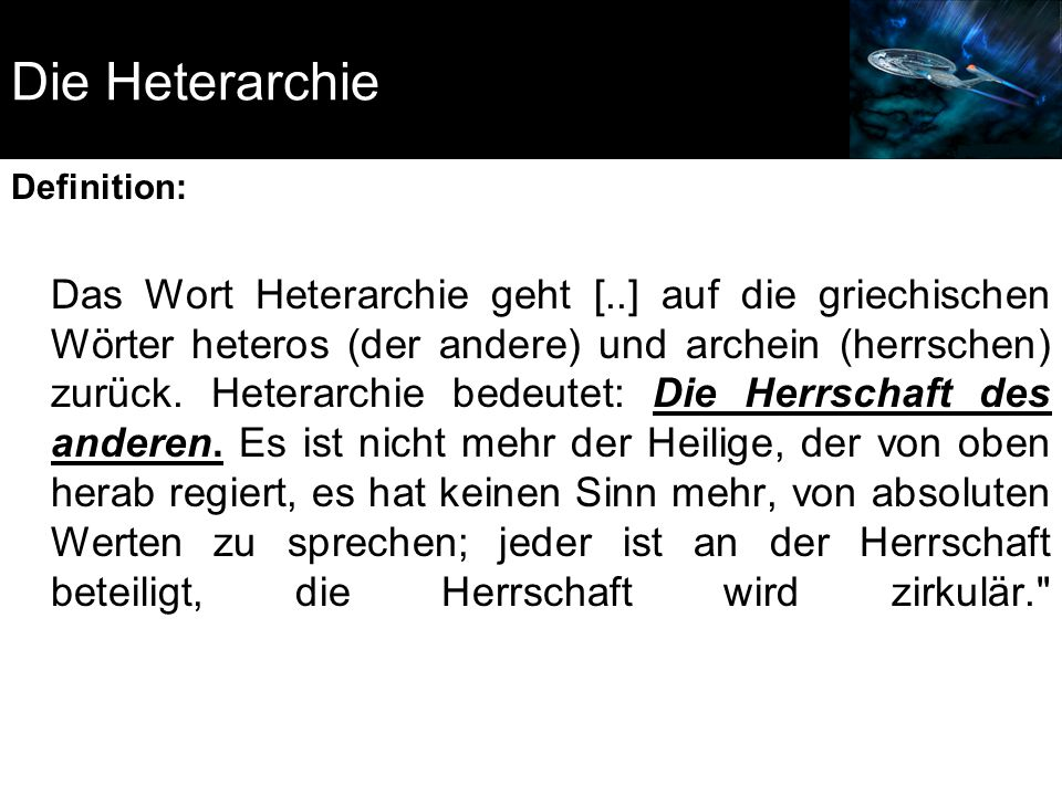 Die Heterarchie Definition:
