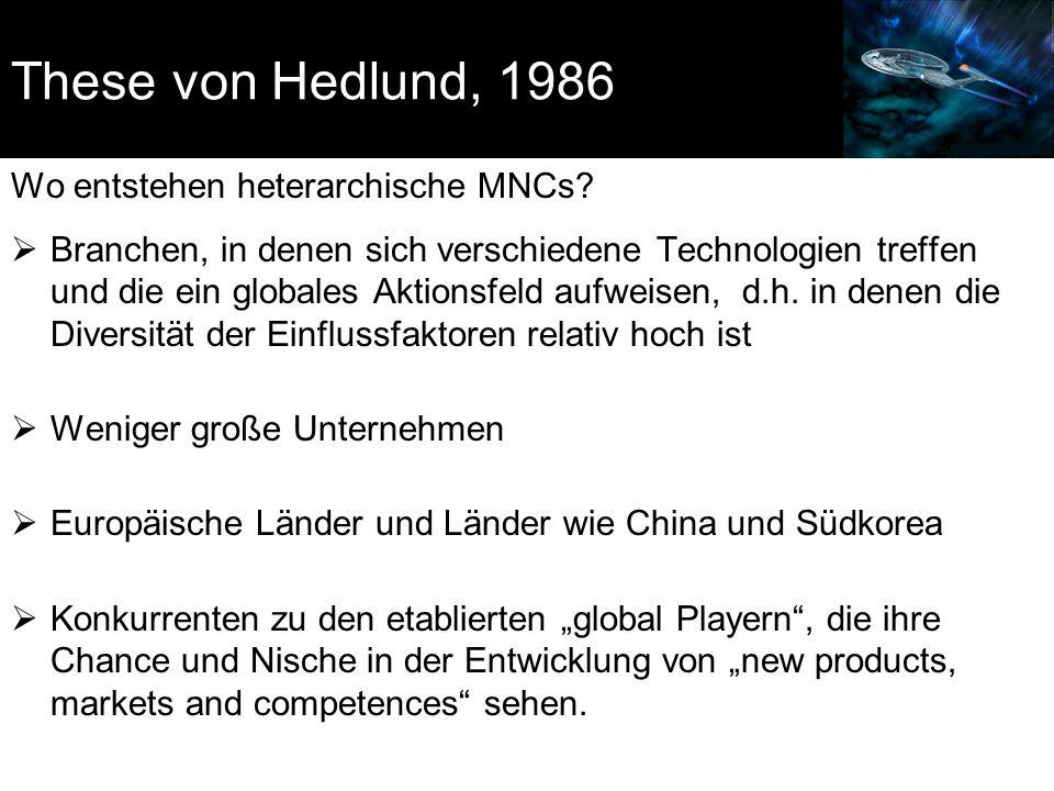 These von Hedlund, 1986 Wo entstehen heterarchische MNCs