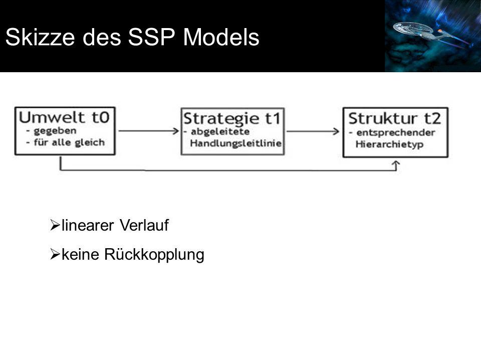 Skizze des SSP Models linearer Verlauf keine Rückkopplung