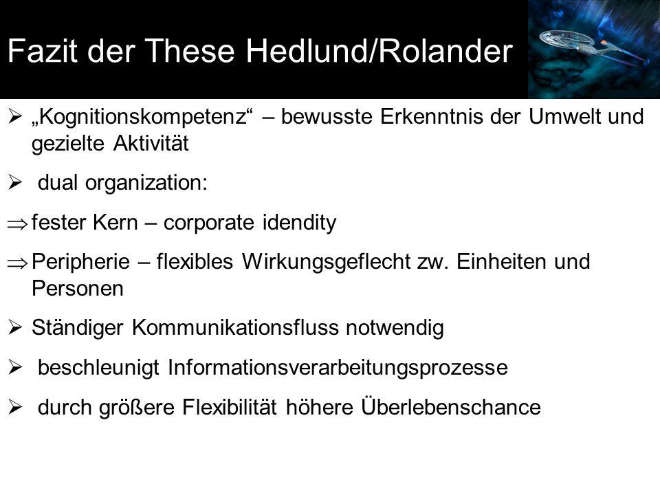 Fazit der These Hedlund/Rolander