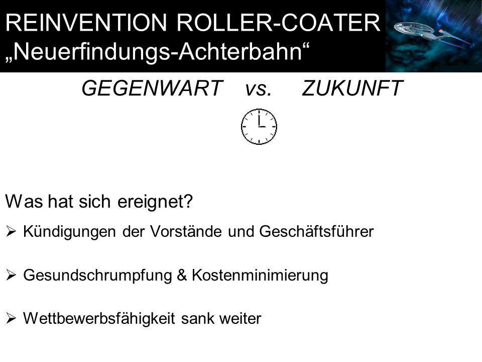 "REINVENTION ROLLER-COATER ""Neuerfindungs-Achterbahn"