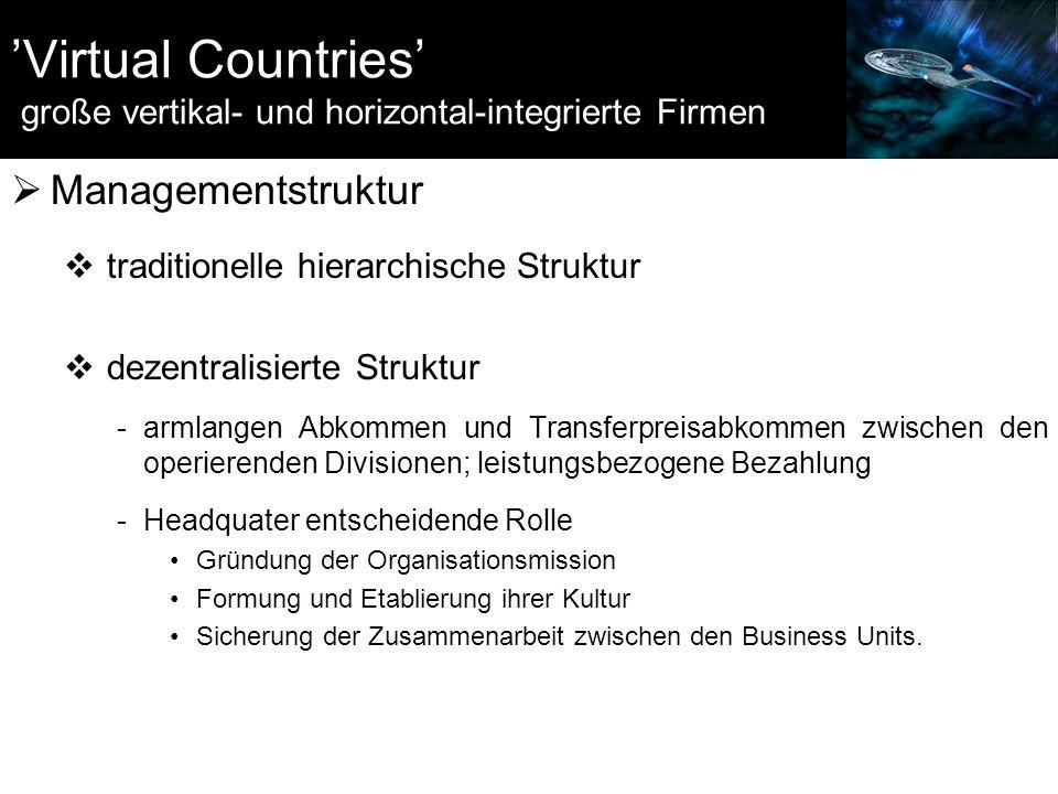 'Virtual Countries' große vertikal- und horizontal-integrierte Firmen