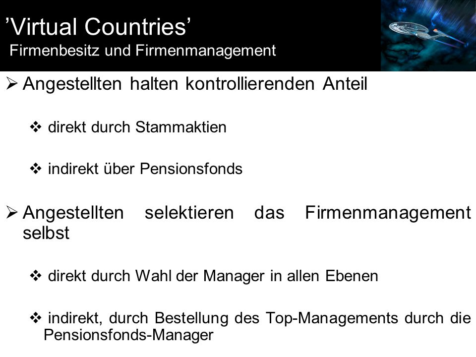 'Virtual Countries' Firmenbesitz und Firmenmanagement