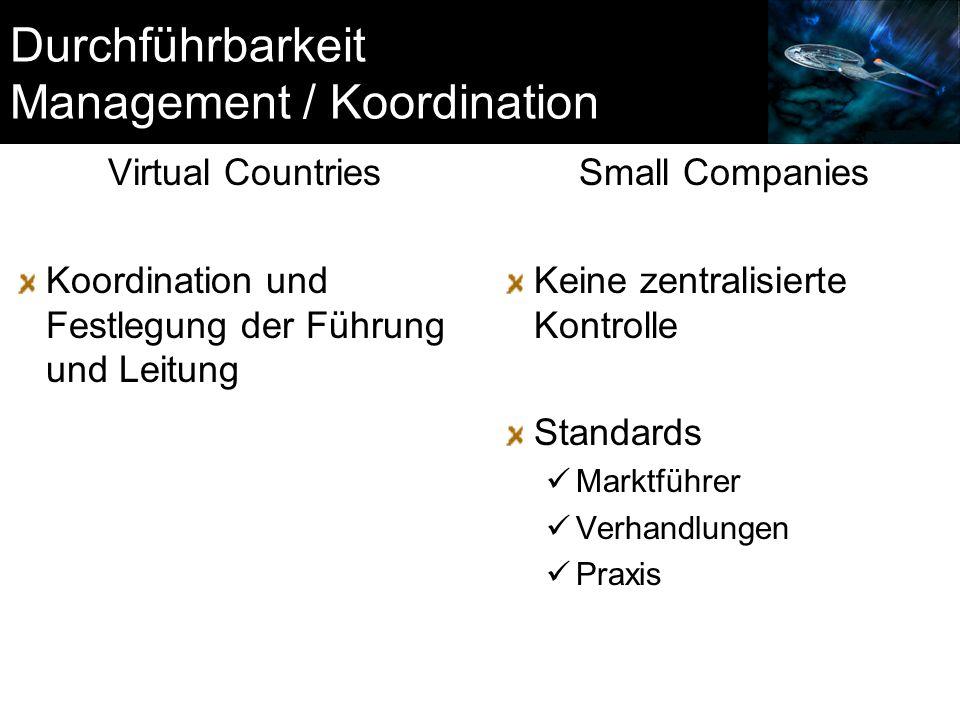 Durchführbarkeit Management / Koordination
