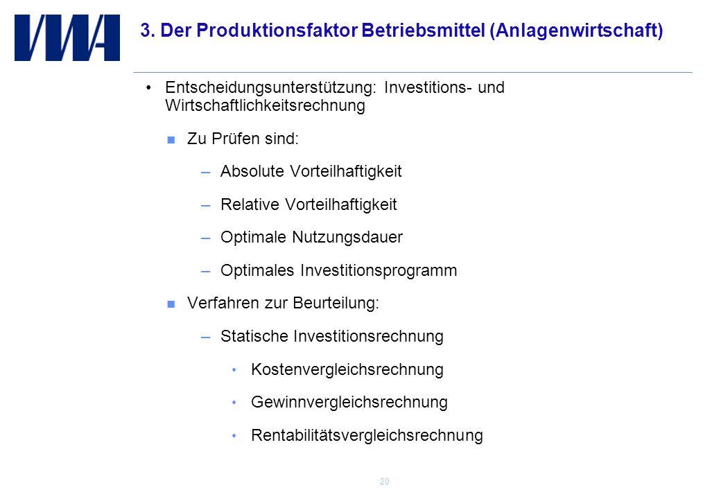 3. Der Produktionsfaktor Betriebsmittel (Anlagenwirtschaft)