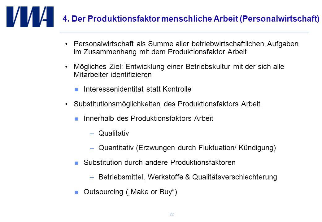 4. Der Produktionsfaktor menschliche Arbeit (Personalwirtschaft)