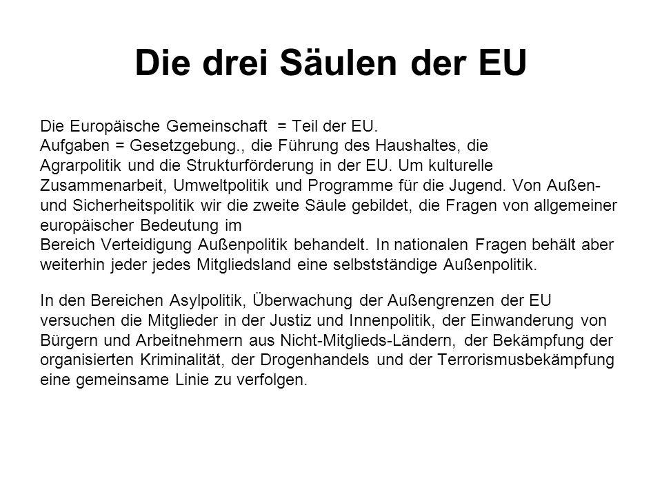 Die drei Säulen der EU Die Europäische Gemeinschaft = Teil der EU.