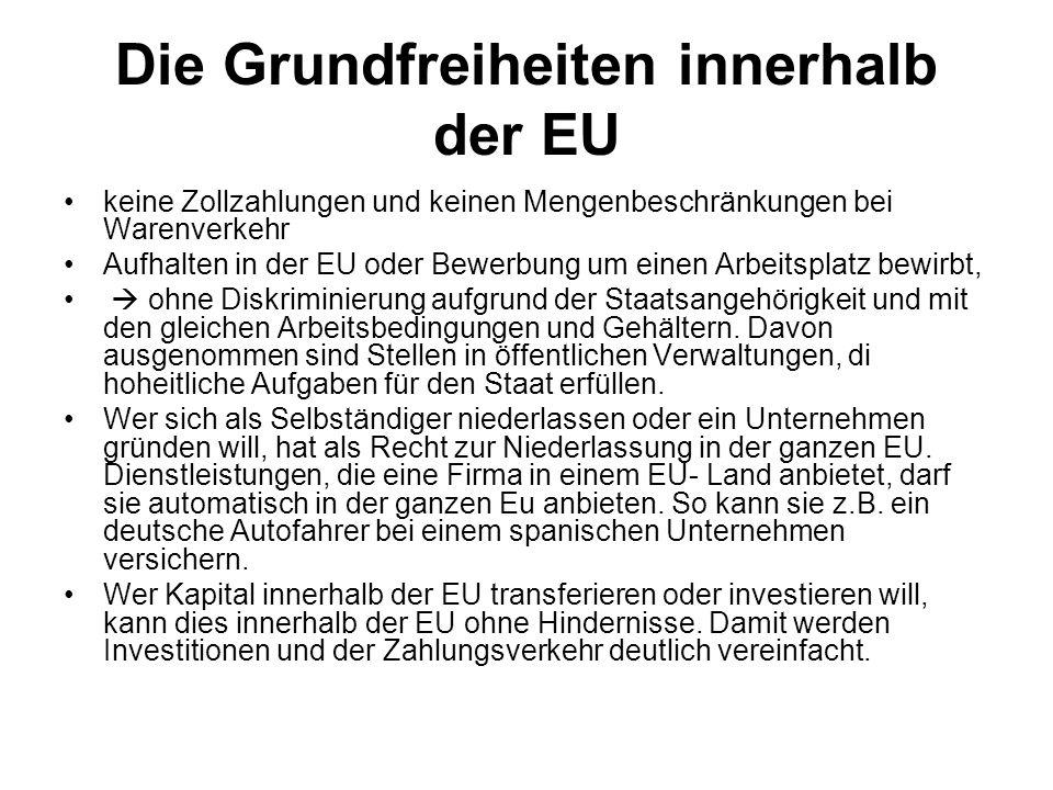 Die Grundfreiheiten innerhalb der EU