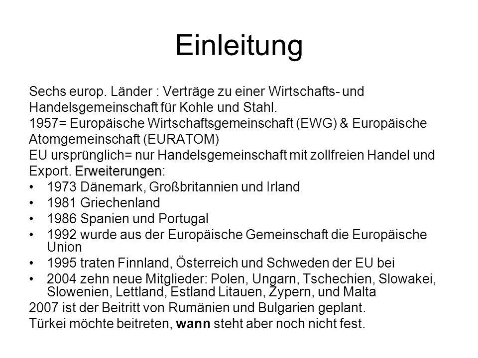 Einleitung Sechs europ. Länder : Verträge zu einer Wirtschafts- und