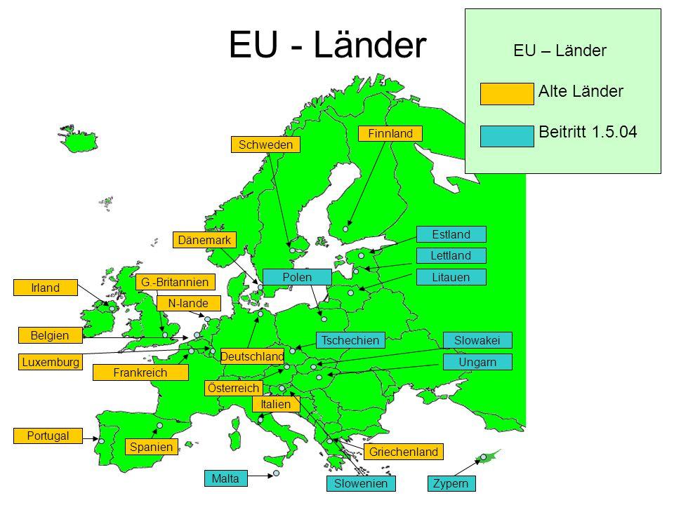 EU - Länder EU – Länder Alte Länder Beitritt 1.5.04 Finnland Finnland