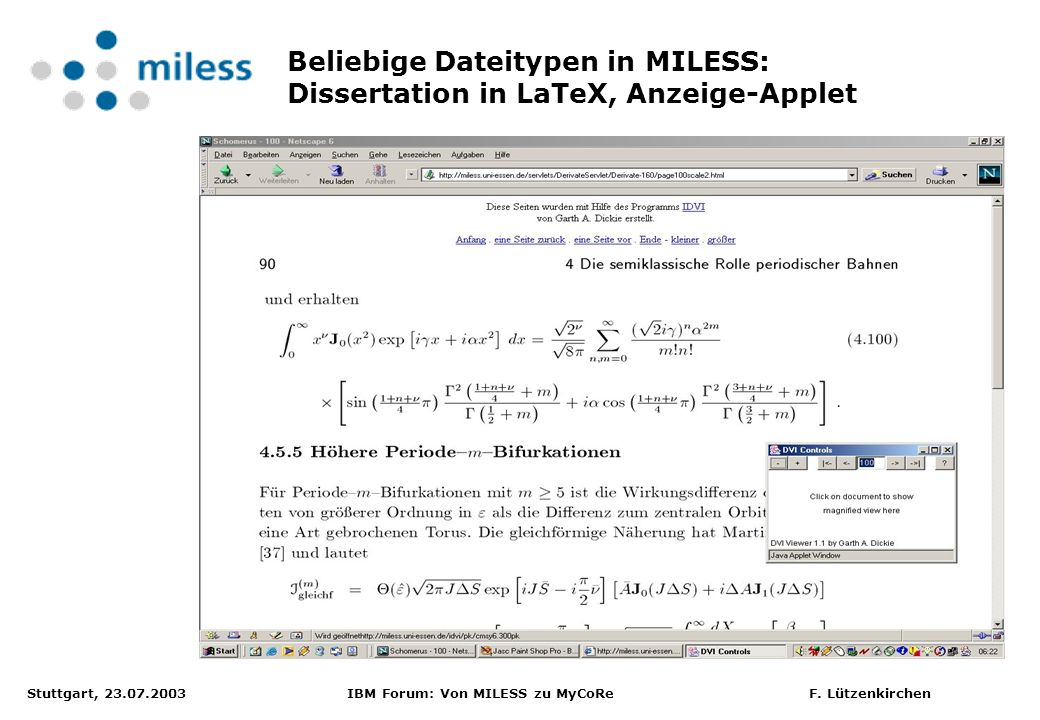 Beliebige Dateitypen in MILESS: Dissertation in LaTeX, Anzeige-Applet