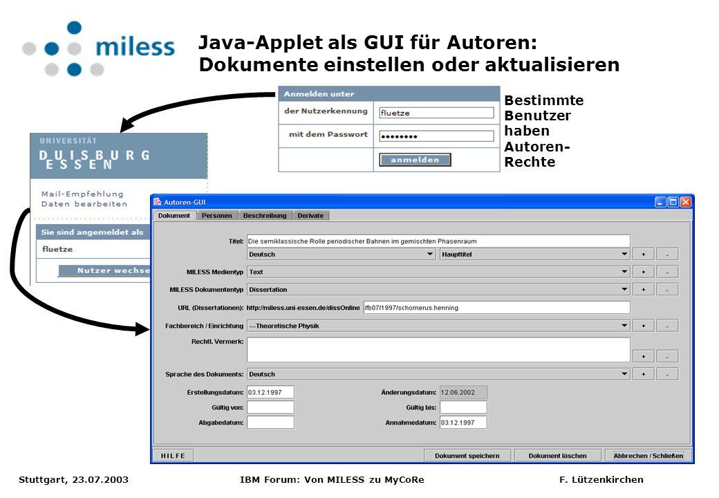 Java-Applet als GUI für Autoren: Dokumente einstellen oder aktualisieren