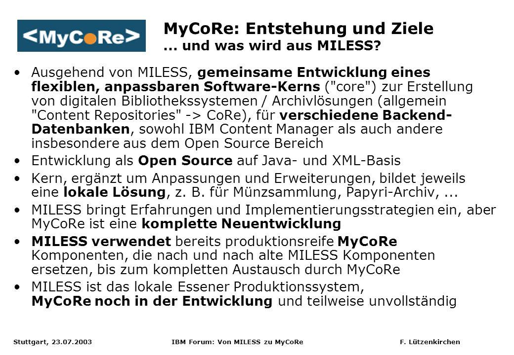 MyCoRe: Entstehung und Ziele ... und was wird aus MILESS