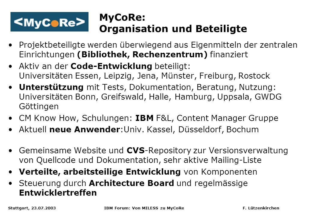 MyCoRe: Organisation und Beteiligte