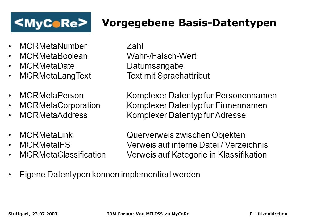 Vorgegebene Basis-Datentypen