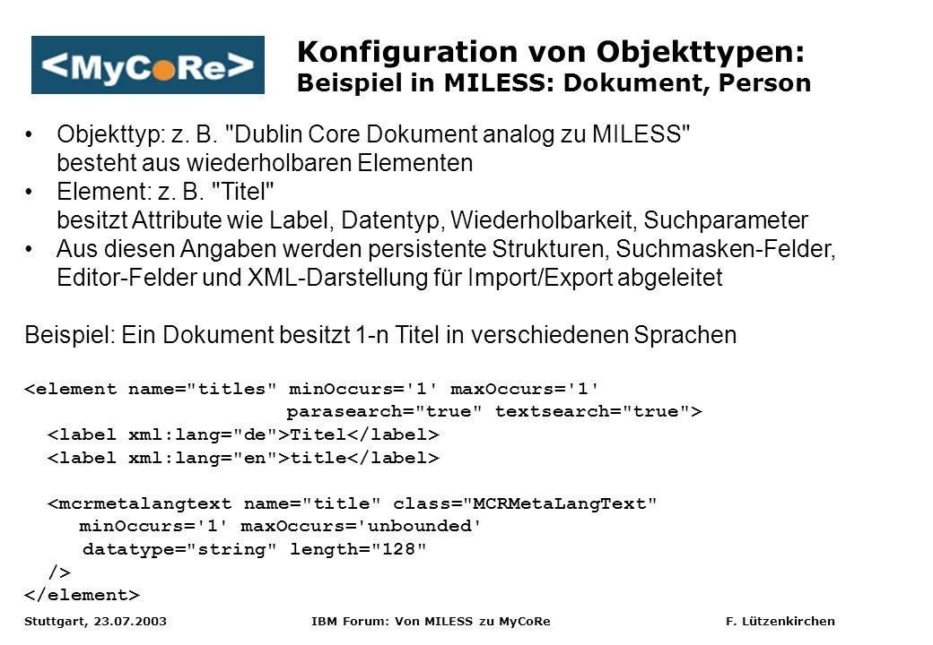 Konfiguration von Objekttypen: Beispiel in MILESS: Dokument, Person