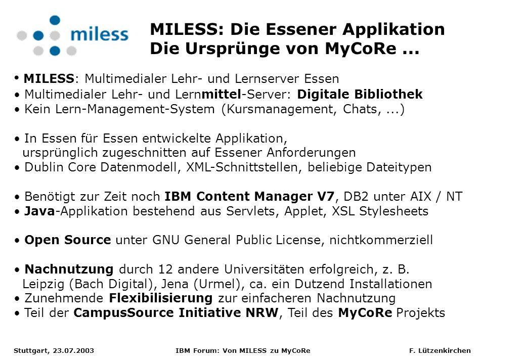 MILESS: Die Essener Applikation Die Ursprünge von MyCoRe ...