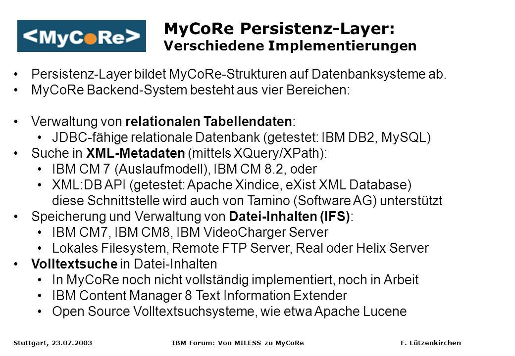 MyCoRe Persistenz-Layer: Verschiedene Implementierungen