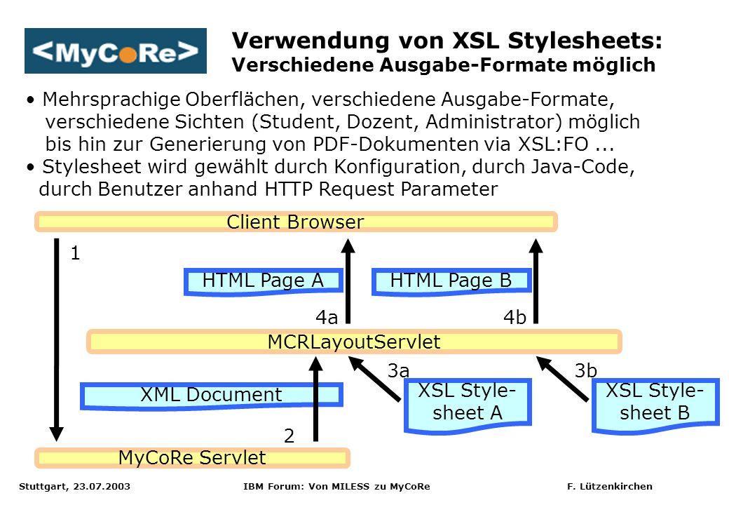 Verwendung von XSL Stylesheets: Verschiedene Ausgabe-Formate möglich