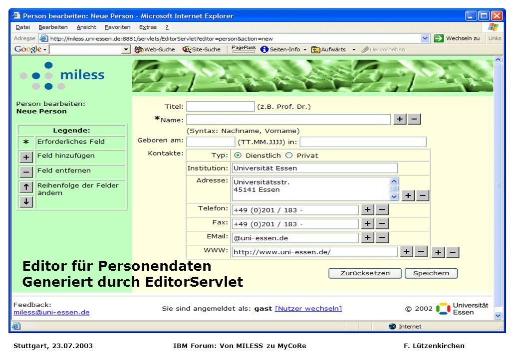 Editor für Personendaten Generiert durch EditorServlet