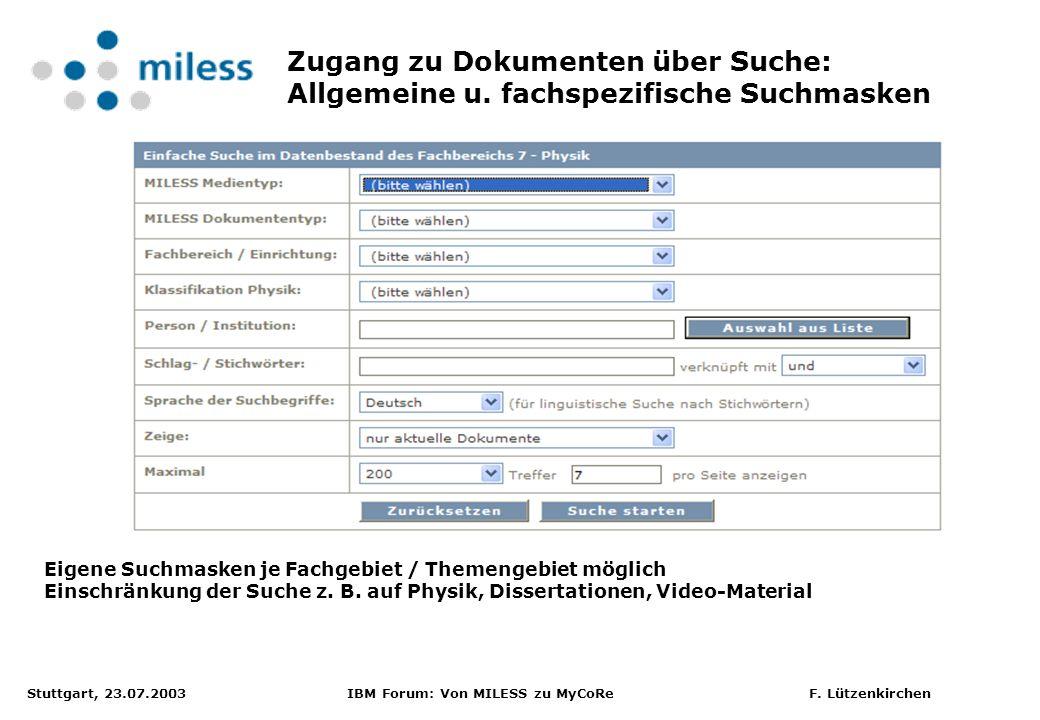 Zugang zu Dokumenten über Suche: Allgemeine u