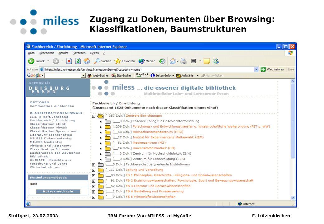 Zugang zu Dokumenten über Browsing: Klassifikationen, Baumstrukturen