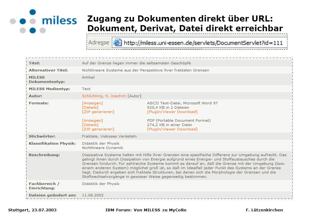 Zugang zu Dokumenten direkt über URL: Dokument, Derivat, Datei direkt erreichbar