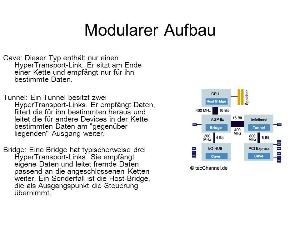 Modularer Aufbau Cave: Dieser Typ enthält nur einen HyperTransport-Link. Er sitzt am Ende einer Kette und empfängt nur für ihn bestimmte Daten.