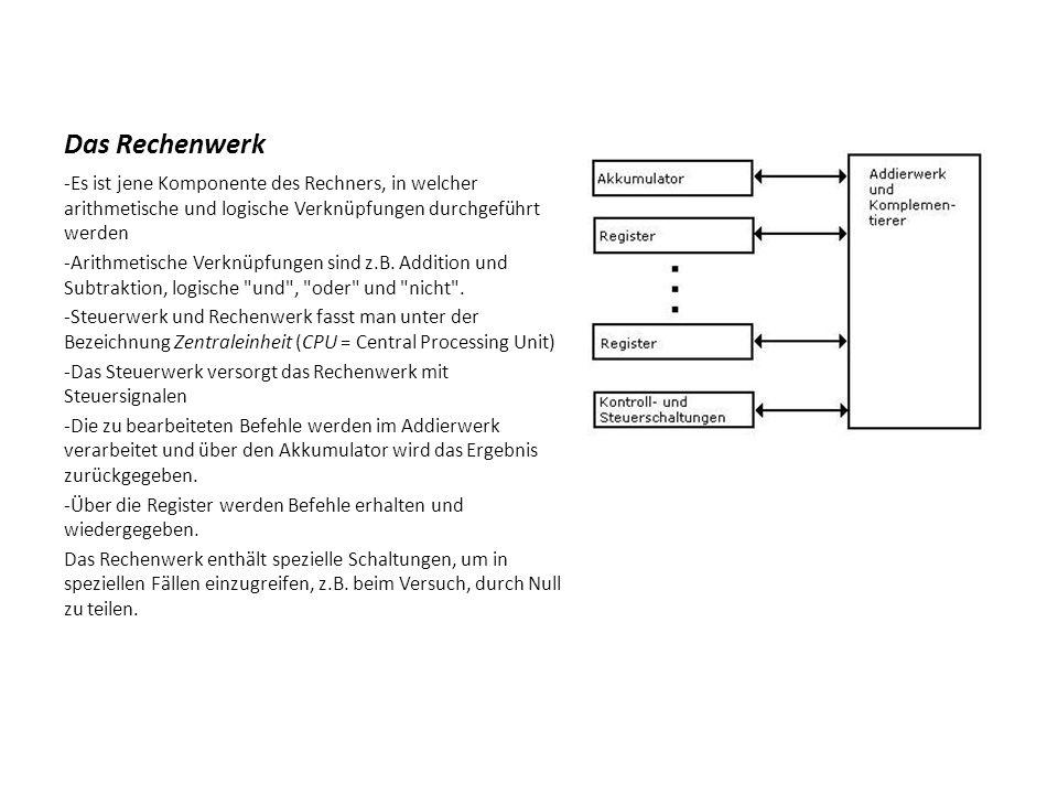 Das Rechenwerk -Es ist jene Komponente des Rechners, in welcher arithmetische und logische Verknüpfungen durchgeführt werden.