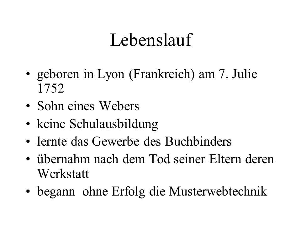 Lebenslauf geboren in Lyon (Frankreich) am 7. Julie 1752