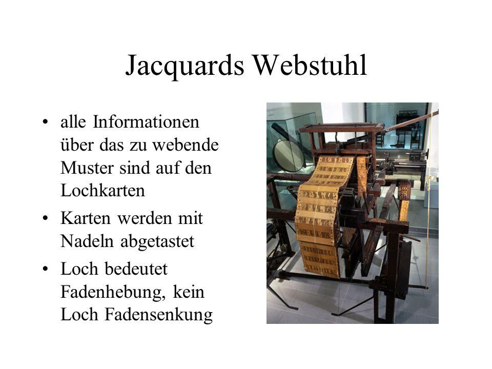 Jacquards Webstuhl alle Informationen über das zu webende Muster sind auf den Lochkarten. Karten werden mit Nadeln abgetastet.