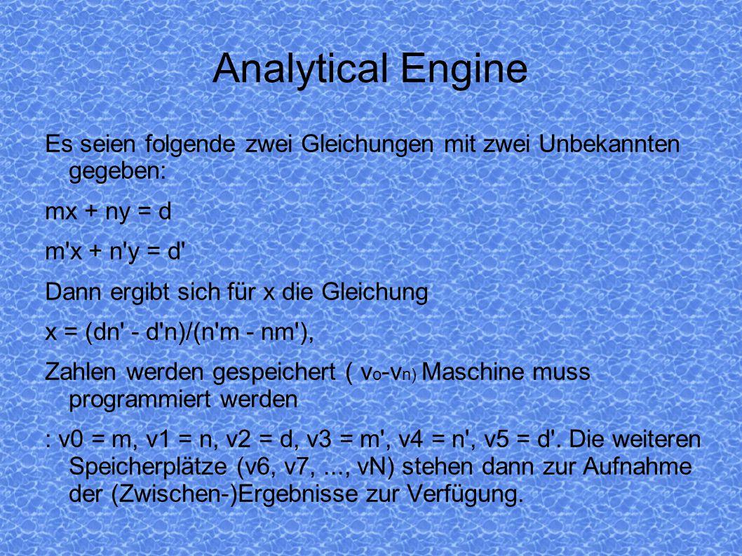 Analytical Engine Es seien folgende zwei Gleichungen mit zwei Unbekannten gegeben: mx + ny = d. m x + n y = d