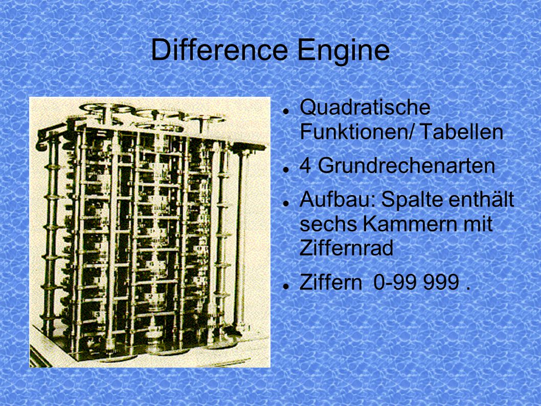 Difference Engine Quadratische Funktionen/ Tabellen 4 Grundrechenarten
