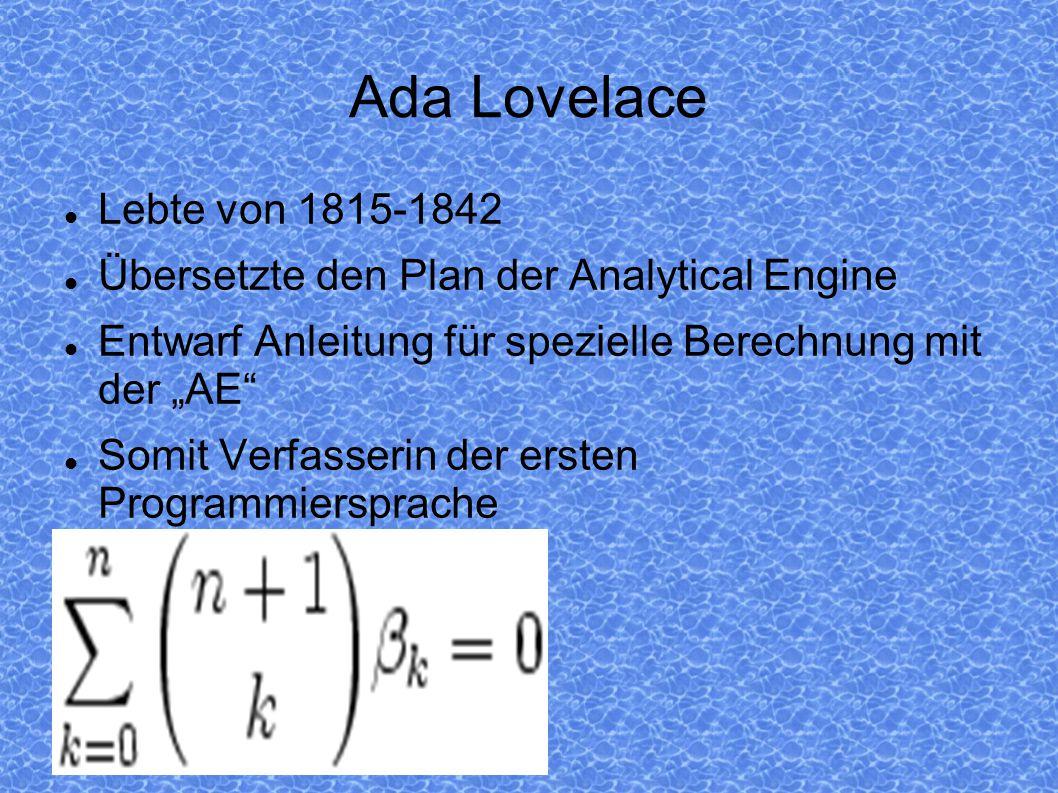 Ada Lovelace Lebte von 1815-1842