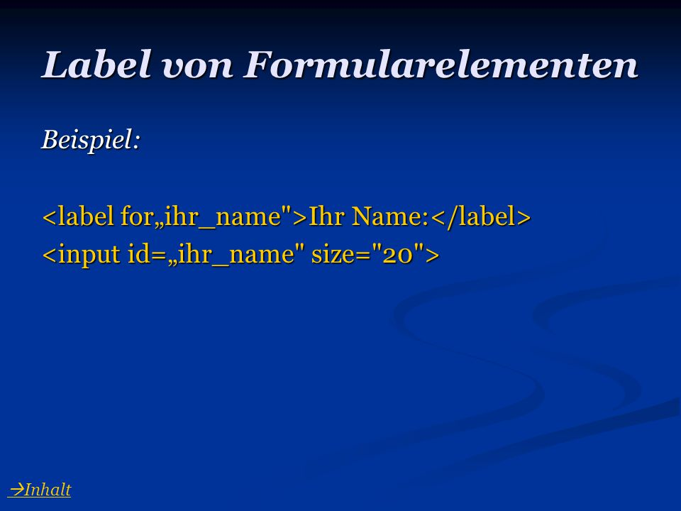 Label von Formularelementen