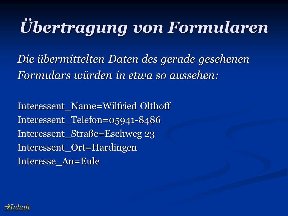 Übertragung von Formularen