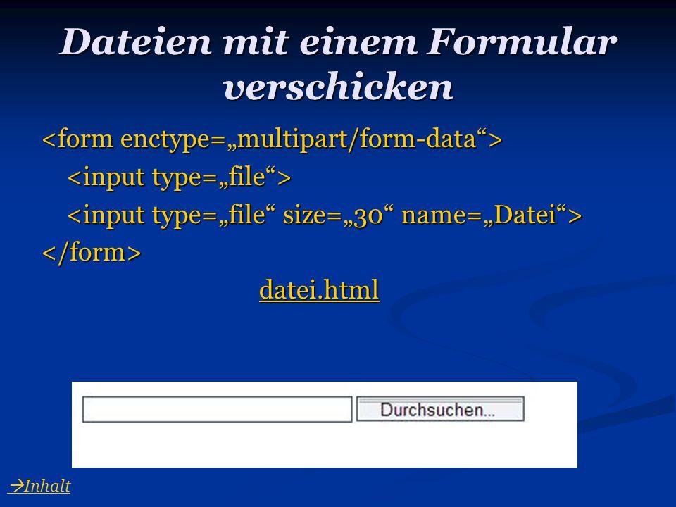 Dateien mit einem Formular verschicken